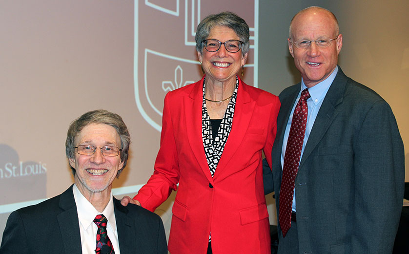 Ross Brownson with Susan and Steven Lipstein during his installation ceremony.