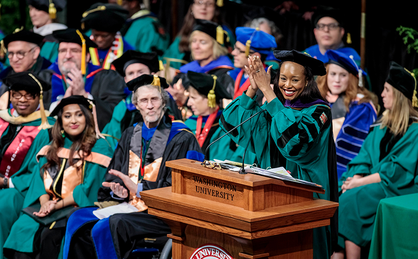 Brown School Recognition Ceremony speaker and MPH alum Cora Faith Walker addresses the crowd.
