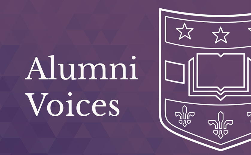 Purple background with white text: Alumni Stories