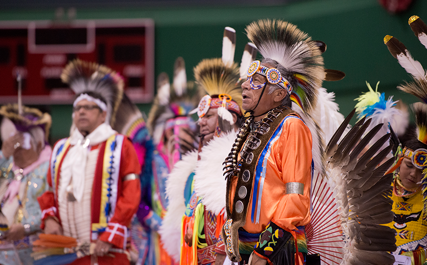 Tribal elders in ceremonial dress at the 2018 Buder Center Pow-Wow