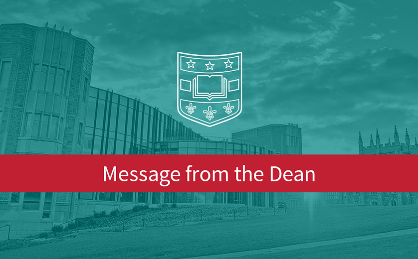"Graphic with red banner, words ""Message from the Dean"" in white."