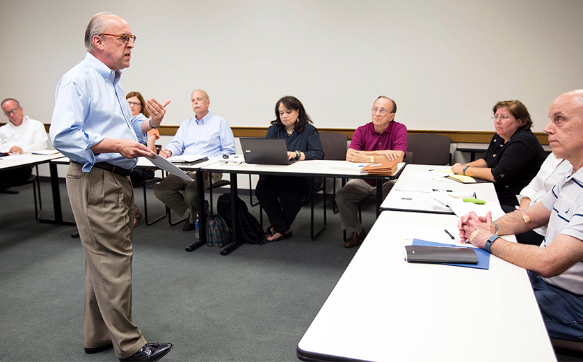 Professor of Practice Barry Rosenberg teaches a class of nontraditional students.